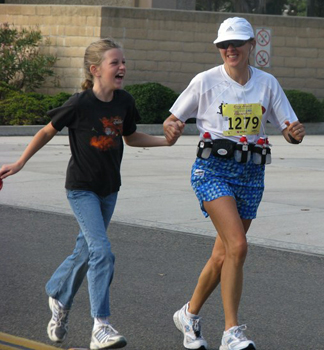 Sheila and Jenny running together at Mile 14