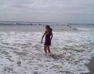 At Moonlight Beach in Encinitas after Wetsuit Purchase