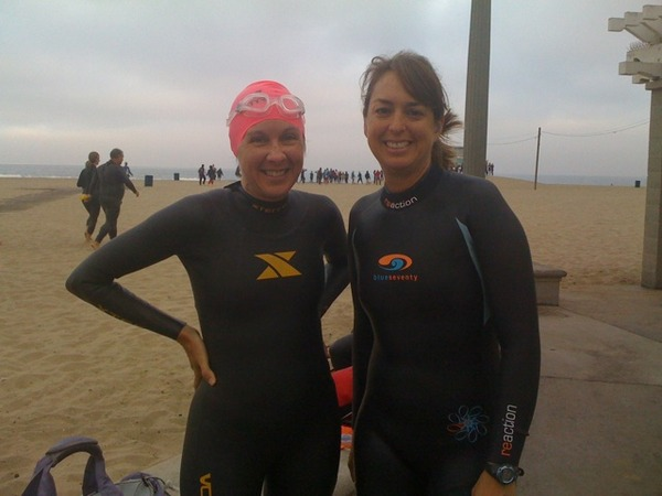 Me on the left, Nina Twitter friend on the right, before Santa Monica Ocean Swim.